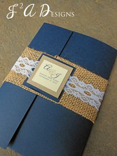 Burlap & Lace Pocketold Wedding Invitation What do you think of this one but in different colors?