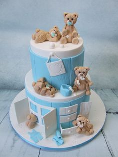 Bear baby shower cakes