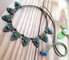 Moss agate macrame necklace macrame jewelry moss by SelinofosArt etsy