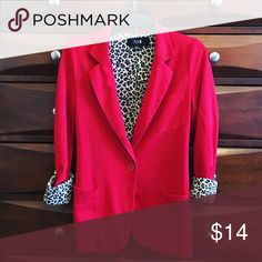 Red blazer with leopard print! ❤️ Great condition!!! Super cute and you can roll the sleeves down and show no leopard or roll them up and show the leopard pattern! Perfect for any occasion! Forever 21 Jackets & Coats Blazers