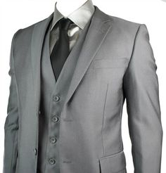 charcoal wedding suits | Mens Charcoal Grey Suit 3 Piece Slim Fit Regular Wedding Prom Office ...