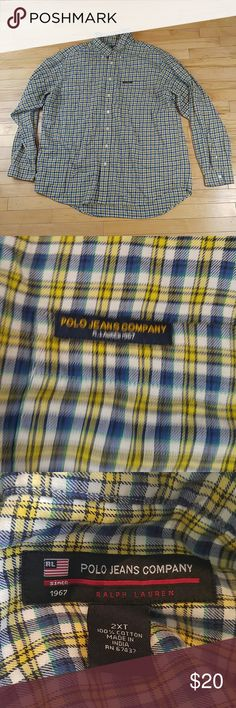 Polo Jean Company men 2XT plaid long sleeve shirt Polo Jean Company men 2XT plaid long sleeve shirt Great condition Polo by Ralph Lauren Shirts Casual Button Down Shirts