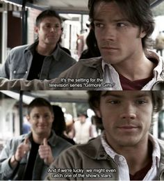 Dean.. LOL <-- I wrote that, talking about Jensen in the background. But it works because Jared's Gilmore Girls character was Dean too. Too much explanation? K.