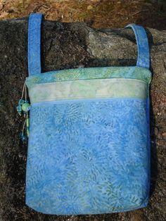 Blue and Green Batik Shoulder Bag Cross Body by Jackiesewingstudio