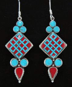 A pair of ethnic earrings from Nepal