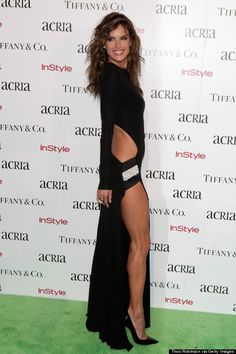 Alessandra Ambrosio wearing a dress by Alexandre Vauthier at the 19th Annual ACRIA Holiday Dinner