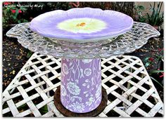 Lavender Garden Totem / Dessert Pedestal / by GardenWhimsiesByMary, $35.00