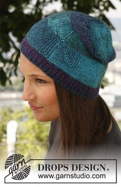 """Knitted DROPS hat with domino pattern in """"Delight"""". ~ DROPS Design"""