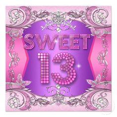 Sweet 13 13th Birthday Party Pink Purple Invitation