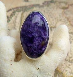 Great Big Charoite & Sterling Silver Ring. $140.00, via Etsy.