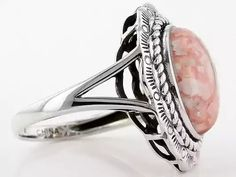 Southwest Style By Jtv(Tm) 14x10mm Oval Cabochon Rhodochrosite Sterling Silver Solitaire Ring