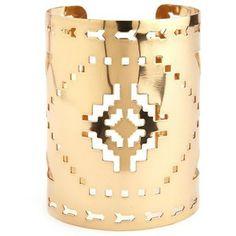 Golden Aztec Cut-Out Cuff Bracelet