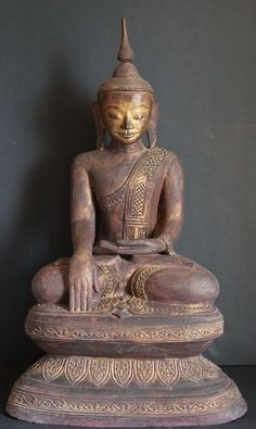 burmese gold artifacts and buddhas | Burmese Shan Hollow Lacquer Buddha statue on high throne #2013