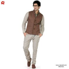 #BestSeller #NehruJacket #Online  Admiring #Cream coloured #LinenShirt paired with Brown color #JuteKoti is an imperial #outfit that will add a touch of elegance to your smart personality.  View : http://rajwadi.com/Shop/ProductDetails/Men/Nehru%20Jacket/MNJ4181   #FeelRoyal