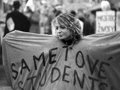 """VELVET REVOLUTION 1989 Olomouc Girl with """"velvet students"""" flag"""