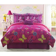 Kids Bedding -Pink, Yellow, Teal Butterfly Teen Girls Twin Size Comforter Set Piece Bed In A Bag) Teenage Girl Bed, Girls Twin Bed, Girls Bedroom, Bedrooms, Bedroom Ideas, Cute Bedding, Pink Bedding, Bedding Sets, Full Size Comforter Sets