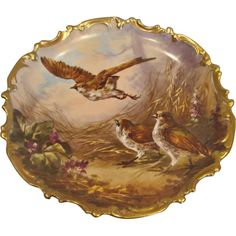 "French Limoges 13"" Wall Plaque Charger Artist Painted Signed Dubois Birds Quails c 1890 - 1920"