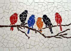 Items similar to Birds meeting – Unique handmade tiles mosaic on Etsy – BEĞENDİKLERİM – Ideen Mosaic Tray, Mosaic Wall, Mosaic Glass, Mosaic Tables, Stained Glass, Glass Art, Mosaic Animals, Mosaic Birds, Mosaic Crafts