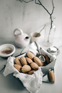 Orange Ginger Madeleines by Jet & Indigo Just Desserts, Delicious Desserts, Dessert Recipes, Yummy Food, Food Photography Styling, Food Styling, Breakfast Photography, Eat Dessert First, Dessert Bars