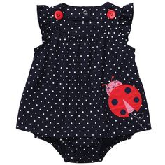 carters polka dot navy ladybug sunsuit