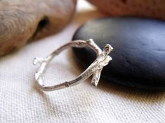 Twig Ring - Sterling Silver Woodland Branch Cast - Wood Texture - Simple Natural Organic - Sizes 5, 6, 7, 8 Made to Order on Etsy,
