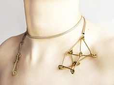 Futuristika bound necklace with brass pendants and by ProjektMosko, $39.00