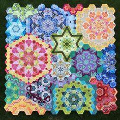 The New Hexagon Millefiore Quilt-Along Free on my website. Each participant must own a copy of the book, The New Hexagon
