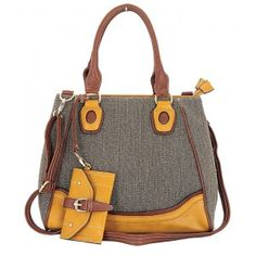CALVIN Tweed Accent Bag with Clip On Coin Purse