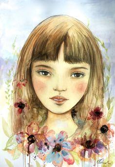Laila con el arte de flores de impresión por claudiatremblay