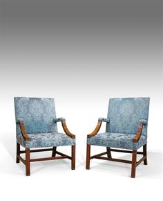 Pair of Georgian Gainsborough chairs