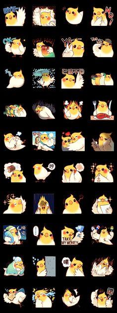 """Coca Bird"" is created by ErA, a Taiwanese artist. Punk Disney Characters, Cute Characters, Cockatiel, Budgies, Pikachu Art, Cartoon Birds, Cute Kawaii Animals, Owl Crafts, Dibujos Cute"