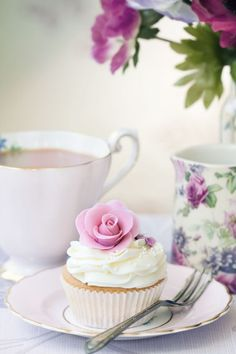 Rose Cupcake and Tea -  Crown Parlor Tea Room Special Events & Tea Parties in Tampa, FL  - Pastel Colors:  Pink, Purple, White