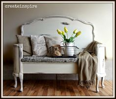 {createinspire}: Antique Headboard to Bench in Antique White
