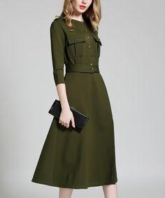 Look what I found on #zulily! Army Green Midi Dress #zulilyfinds