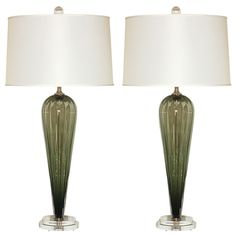 Handblown Pair of Olive Green Glass Lamps by Joe Cariati | From a unique collection of antique and modern table lamps at https://www.1stdibs.com/furniture/lighting/table-lamps/