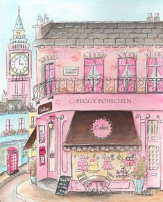 London Girl - Cake Shop Painting by Debbie Cerone