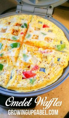 Looking for a savory waffle recipe? Skip the flour and make omelets in your waffle maker! This is a fun and easy breakfast recipe packed with veggies!