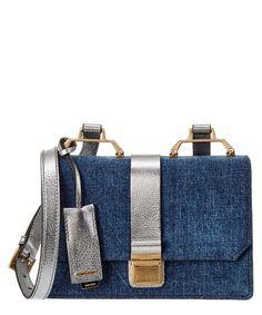 MIU MIU MIU MIU MADRAS & DENIM SHOULDER BAG'. #miumiu #bags #shoulder bags #leather #denim #lining #