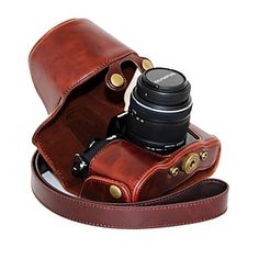 Dengpin® Leather Protective Camera Case Oil Skin with Shoulder Strap for Olympus OM-D E-M10 with 14-42mm Lens 2016 - $30.99