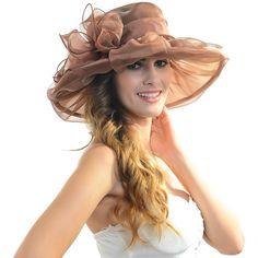 59ab0c2978e Elegant Women Organza Wide Brim Church Derby Kentucky Party Hat  (Multicolor) - Brown -