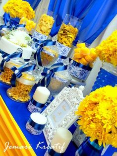 Wedding decorations for tables in light blue and yellow google jemari kreatif design candy buffet royal blue and mustard yellow theme junglespirit Choice Image
