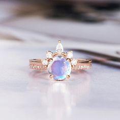 Moonstone Engagement Ring Art Deco Wedding Ring Round Cut Rose Gold Bridal Set Diamond Stacking Half Eternity Promise Leaf Ring Rainbow