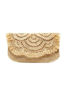 Our Giselle Natural Straw Clutch from Mar Y Sol is accented by festive fringe and sophisticated scallop detailing. Perfect for casual outings. Large Fair Trade Tropical Clutch, Handwoven in Madagascar Chic bags & totes from Dear Keaton. Crochet Handbags, Crochet Purses, Crochet Pouch, Crochet Bags, Crochet Accessories, Bag Accessories, Best Leather Wallet, Crochet Shell Stitch, Beach Tote Bags