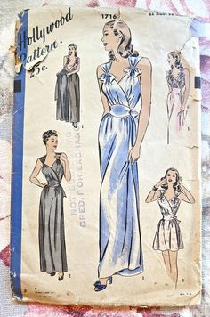 Hollywood 1716  Vintage 1940s Womens Nightgown by Fragolina, $62.00