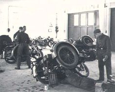 German army motorcycle outfits in workshop | Flickr - Photo Sharing!