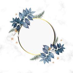 Empty frame with blue leaves design PSD file Cadre Design, Tableau Design, Rose Frame, Flower Frame, Pink And White Background, Wedding Invitation Vector, Empty Frames, Vide, Wedding Frames