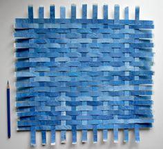 Blue Paper Weaving Art