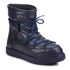 Moncler New Fanny Lace-Up Ankle Moon Boots (€365) ❤ liked on Polyvore featuring shoes, boots, ankle booties, ankle-boots, navy, quilted boots, ankle boots, lace up bootie, bootie boots and navy blue boots
