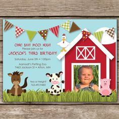 Farmyard+Fun++Custom+Photo+Birthday+by+KimNelsonCreative+on+Etsy,+$15.00