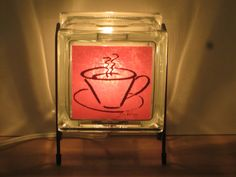 Coffee accent Glass Block lamp FREE SHIPPING by Glowblocks on Etsy